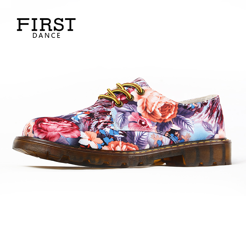 FIRST DANCE Women Dr Martin Shoes Customized Fashion Flat-Bottomed Shoes Female Dropshipping Women Flats Oxfords Shoes Spring vintage embroidery women flats chinese floral canvas embroidered shoes national old beijing cloth single dance soft flats