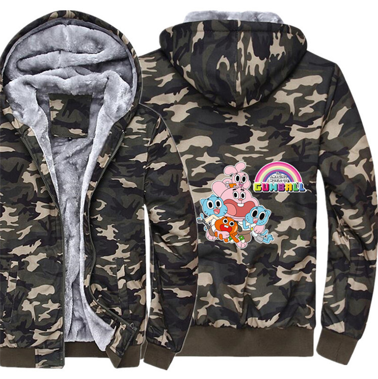 Anime The Amazing World of Gumball Hoodie Winter Casual Super Warm Camouflage Coat Thicken Warm Zipper Hooded Casual Sweatshirts