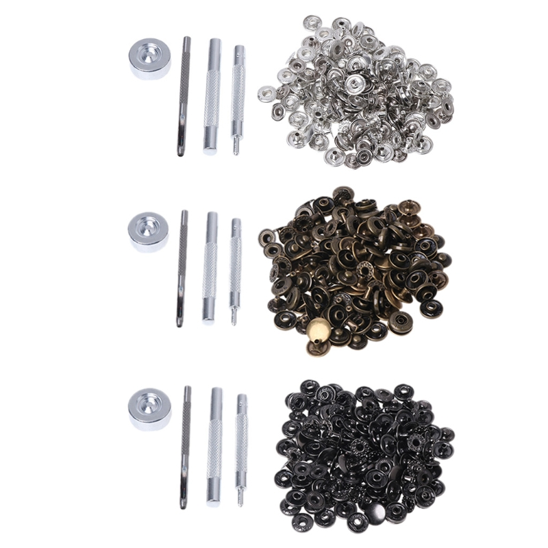 40PCS Metal Snap Button Press Stud Leather Bag Clothes Popper Fastener Tool Kit