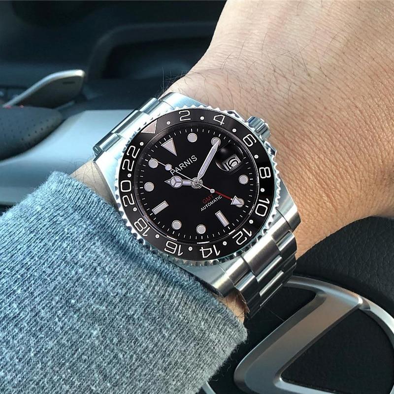Frete grátis 40 milímetros Relógios Mecânicos Parnis GMT Mergulhador Relógio Automático de Cristal de Safira relogio masculino Homens Relógio De Luxo Papel