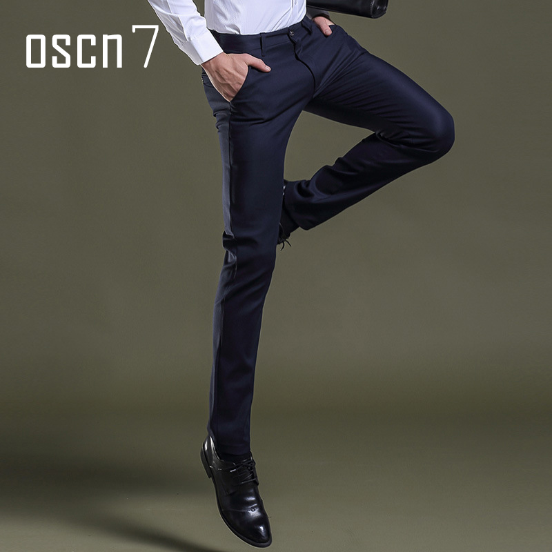 OSCN7 Black Slim Fit Business Dress Men Pants Plus Size
