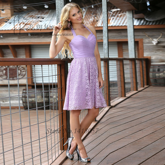 Beach Chiffon Lavender Lace Bridesmaid Dresses Halter Knee Length Short  Wedding Party Dress Gowns Prom Robe demoiselle d honneur a6d880140bb2