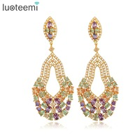 LUOTEEMI New European And American Retro Style Multi Water Drop Earrings Exaggerated Female Long Large Brincos