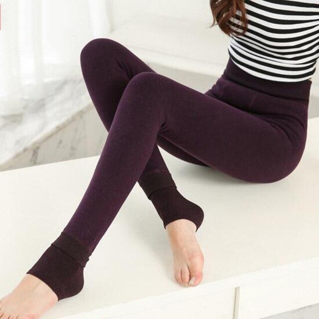 Hot Sale Winter Women Velvet Knitted Thick Slim Super Elastic Leggings Warm Seamlessly Integrated Leggings Pants