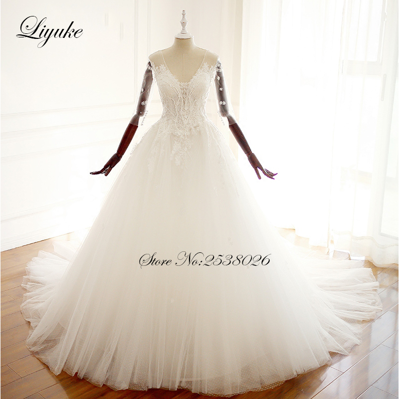 Luxury Tulle Three Quarter Sleeve A Line Wedding Dress: Aliexpress.com : Buy Liyuke Three Quarter Sleeves Tulle V