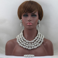 2016 Silver Nigerian Wedding African Beads Jewelry Set Women African Costume Jewelry Set Accessory for Party
