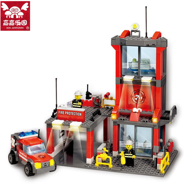 300pcs Brand Compatible City Fire Protection Station Building Blocks Kids Enlighten Fire Fighting Truck Bricks Figure Toys