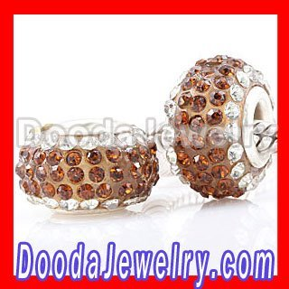 Free Shipping silver plated Smoked Topaz Austrian Crystal Pave Beads European beads for sale YG624