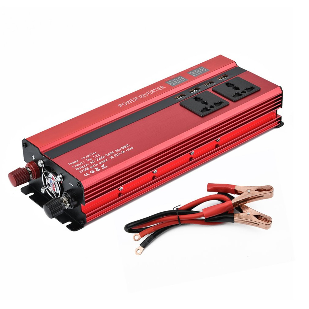 New Auto Portable 2000W Power Car Vehicle Inverter with LCD Display 12V-220V Automotive Converter Power Supply 4 USB Ports Hot сухой корм royal canin hairball care выведение шерсти из желудка для кошек 10кг 645100