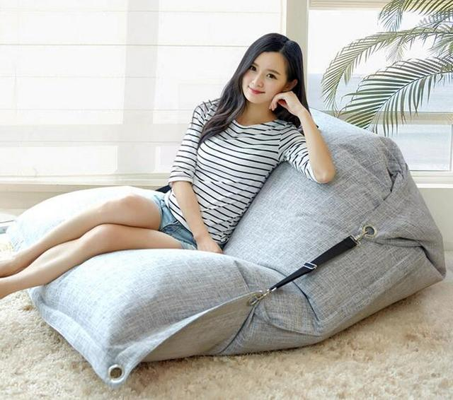 Cover Only No Filler  Linen Fabric Indoor Bean Bag Chair, Living Room Beanbag  Sofa
