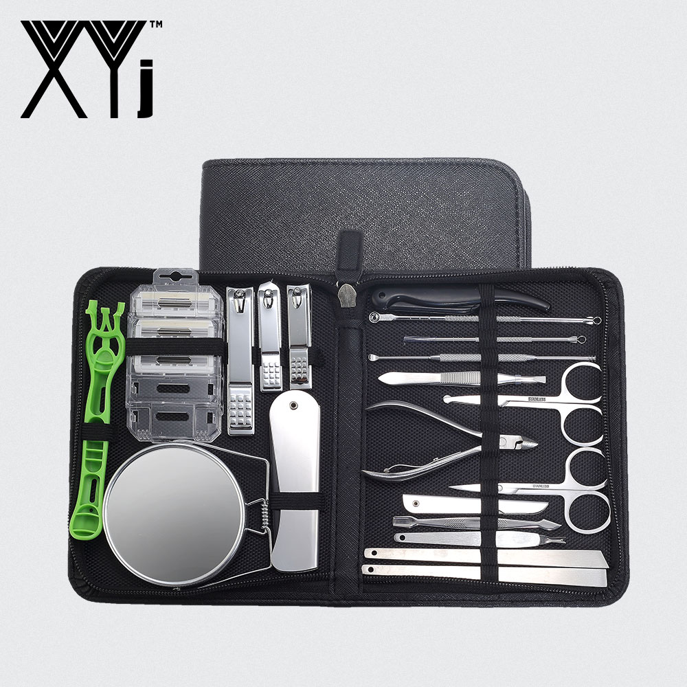 XYj Full-function Care Tool Set Face Care Pedicure Nail Clipper Kit Mirror Comb Shaver Grooming Kit Manicure Set With Travel Box