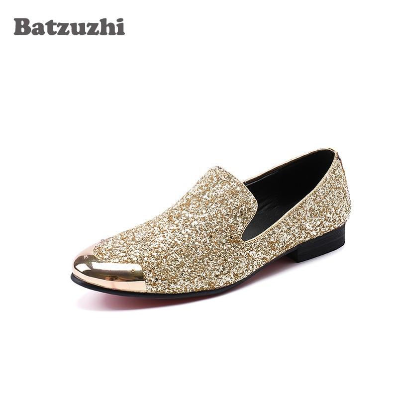 Batzuzhi Luxury Glitter Leather Dress Shoes Men Shoes Metal Toe Gold Loafers Men Flats for Men Wedding and Party Zapatos Hombre цена
