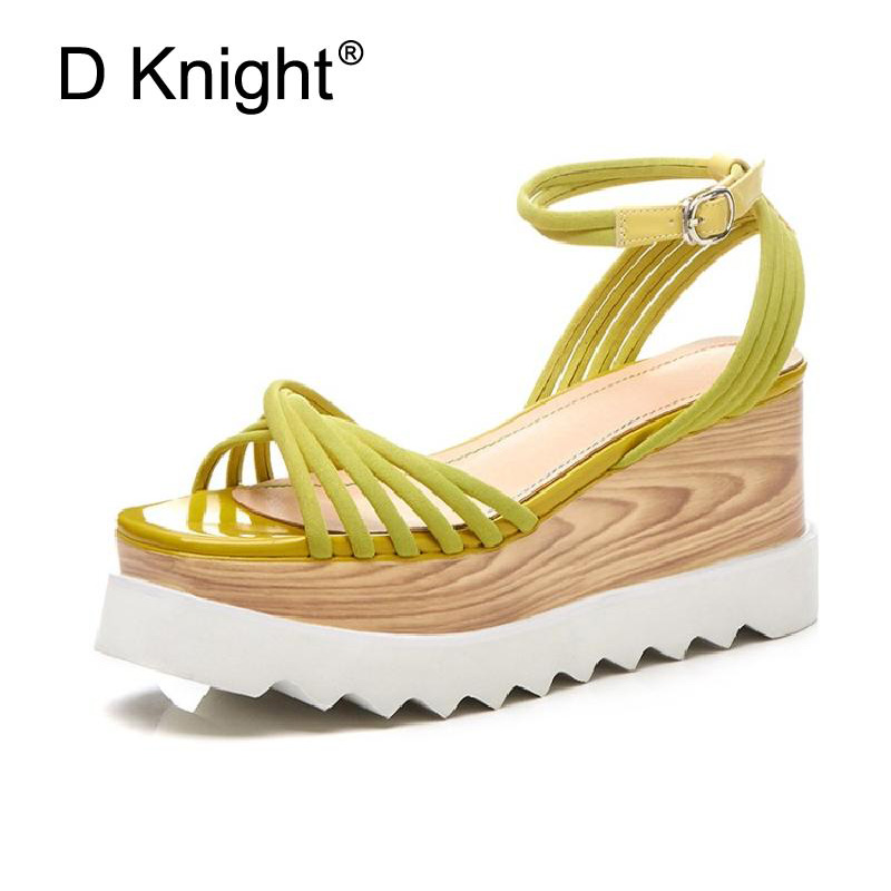 Fashion Lady Sandals 2018 Wedges Shoes Open Toe Buckle Strap Genuine Leather Platform Casual Summer Shoes Woman Black High Heels hot 2018 summer new fashion women sandals wedges shoes high heel sandals platform open toe buckle casual shoes