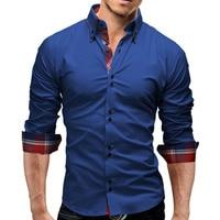 Brand 2017 Fashion Male Shirt Long Sleeves Tops Double Collar Business Shirt Mens Dress Shirts Slim