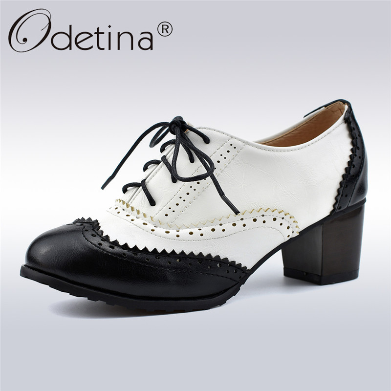 Odetina Women Block High Heel Wingtip Oxford Shoes Perforated Lace Up Vintage Dress Pumps Round Toe Retro Two Tone Saddle Shoes