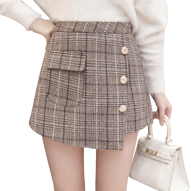 Irregular plaid   short   pants women's new high waist slim a line pacthwork elegant office plaid mini skirts   shorts   harajuku   shorts