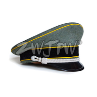 WW2 Army Caps Collectibles Greyish green Officer Large Brimmed Hats Yellow Rim Woolen Cloth DE/401137