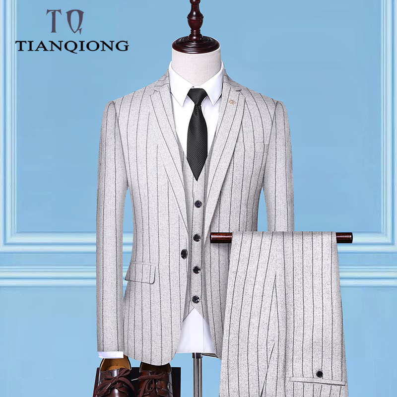 Men's Suit 2019 New Fashion Groom Wedding Dress High end Party Business Striped Slim Suit 3 Piece Set (coat+ Vest+ Pants)-in Suits from Men's Clothing    2