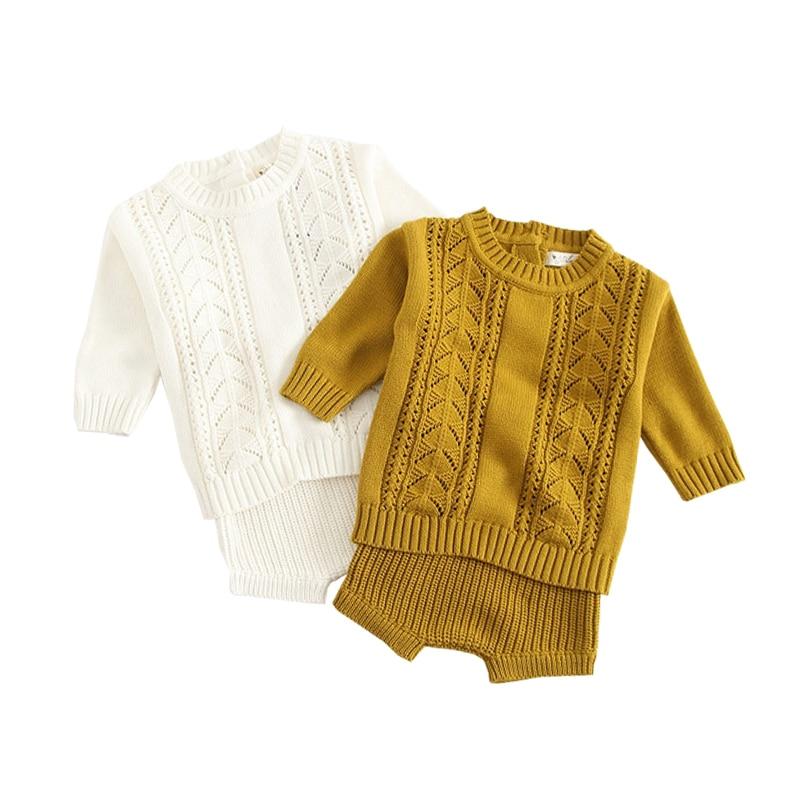 f938923f6 Comprar Bebê Do inverno Da Menina Roupas Definir Malha Meninos Set Blusas +  Shorts 2 pcs Ternos de Roupas Crianças Meninas de Malha de Algodão 2019  nova ...