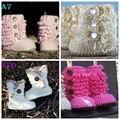 New Baby Girls Crochet Handmade Knit High-top Tall Boots First Walker Shoes Size 0-12month
