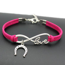 1pcs infinity handmade Women Stylish Horseshoe Charms Bracelets Horse Hoof Leather Bracelet Friendship Gift 7374(China)