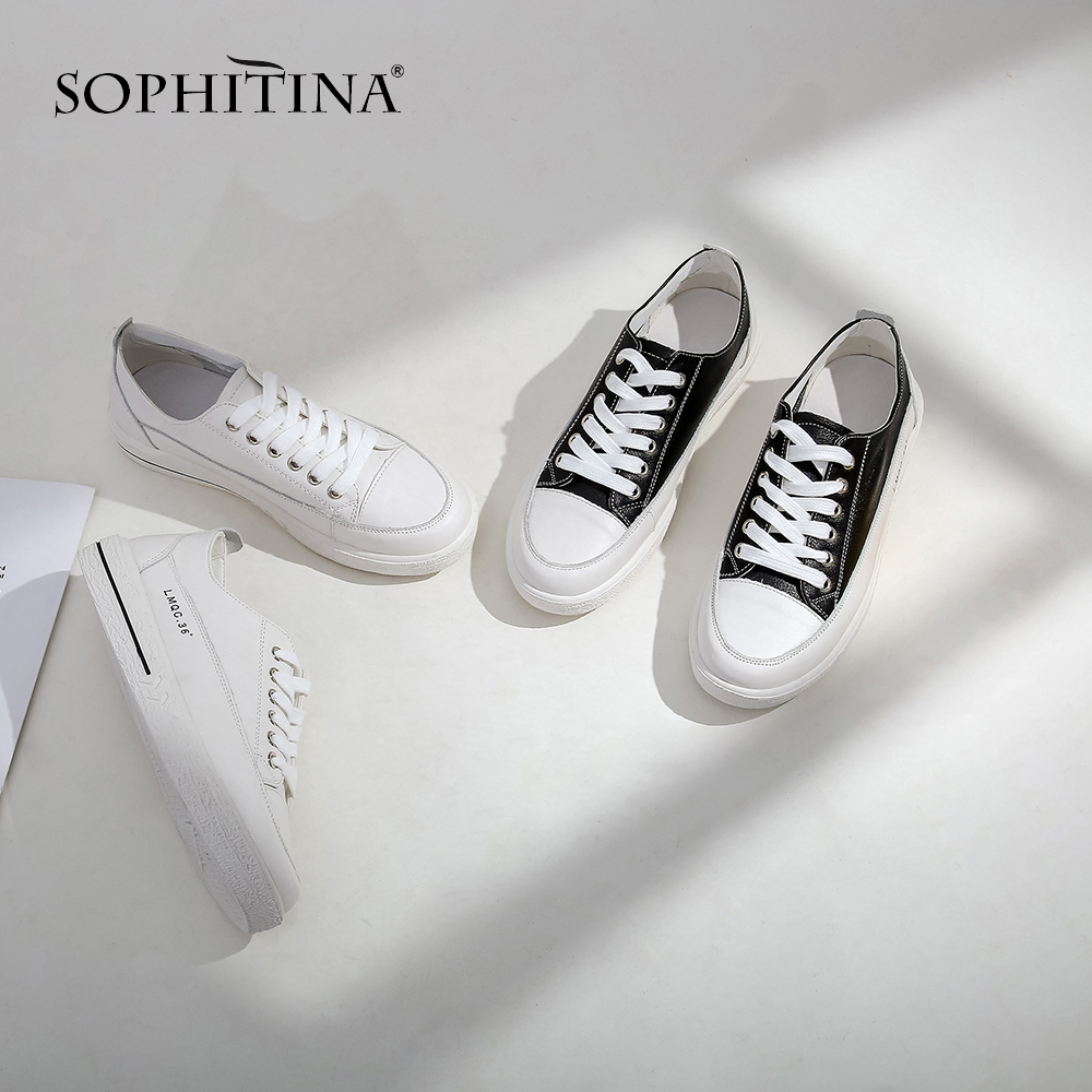 SOPHITINA 2019New Arrival Shallow Casual Genuine Leather Concise Flat Platform Shoes Round Toe Lace up Fashion