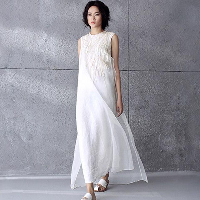 9c756e1fb8a9b US $33.67 35% OFF|Women Dress 2016 Elegant Summer Sleeveless Print Long  Party Cotton Maxi Dress Plus Size Embroidery Vintage Robe White Dresses  D5-in ...