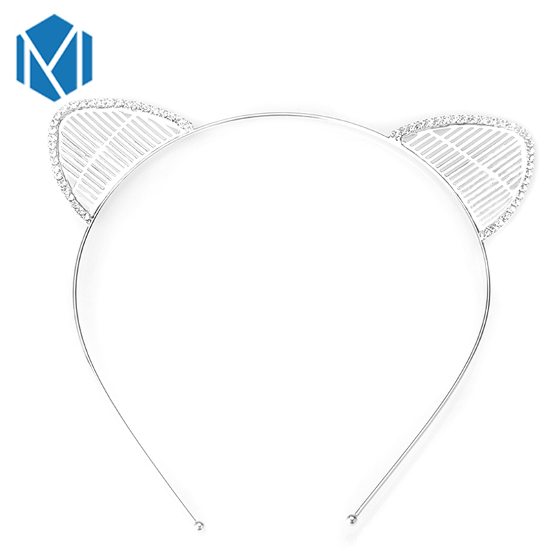 M MISM Fashion 2018 Hot Sale Headband Crystal Rhinestone Cat Ear Hairbands Women's Hair Accessories Cute Girl HairBand Hair Hoop hot sale hair accessories headband styling tools acessorios hair band hair ring wholesale hair rope