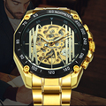 FORSINING Top Brand Luxury Watch Men Military Automatic Mechanical Stainless Steel Strap Skeleton Dial Steampunk Wrist Watches