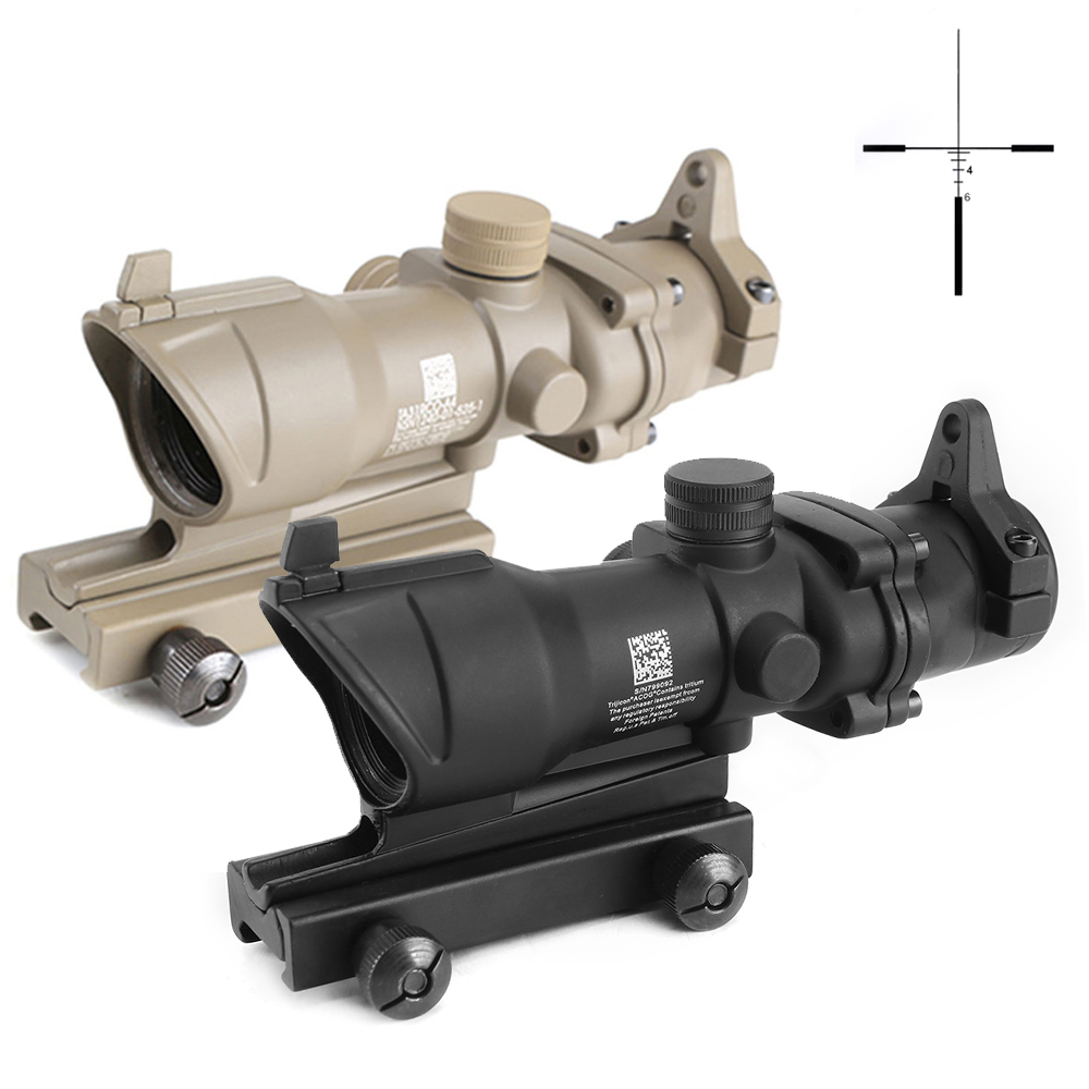 SPINA OPTICS Tactical ACOG Style 4X32 Riflescope Optical Front Rear Sights With 20mm Picatinny Rail Mount For Hunting Shooting