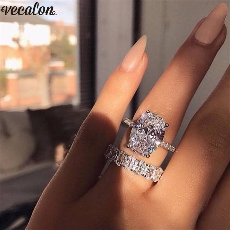 Vecalon Classic 925 Sterling Silver Ring Set Oval Cut 3ct 5A Zircon Cz Engagement Wedding Band Rings For Women Bridal Bijoux