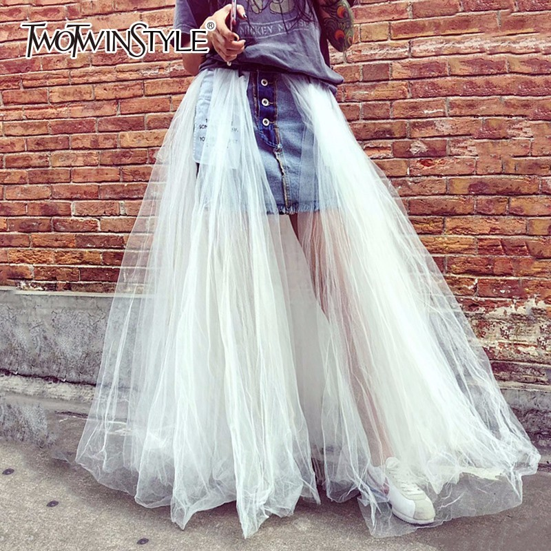 TWOTWINSTYLE Mesh Skirt Female Denim Patchwork High Waist Two Styles Long Tutu Skirts For Women 2019
