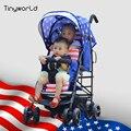 Tinyworld 12 kg quatro cores Luz Gêmeos carrinho de bebê duplo assentos carrinho de bebê carrinho de criança dobrável luz fornt volta carrinho de criança gêmeo