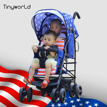 Tinyworld 12kg four colors Light Twins baby stroller double seats baby stroller light folding stroller fornt back twin stroller
