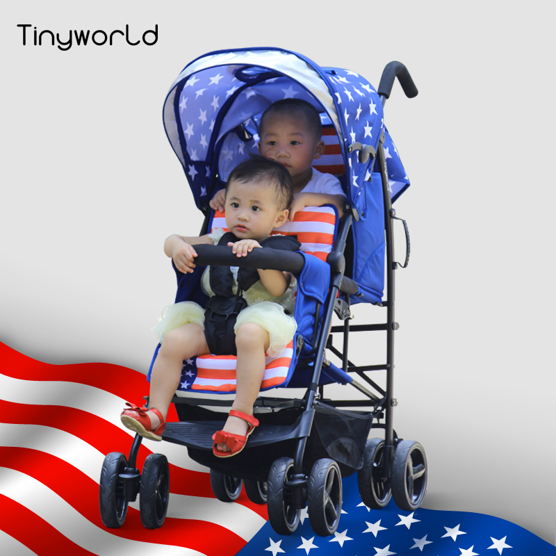 Tinyworld 12kg four colors Light Twins baby stroller double seats baby stroller light folding stroller fornt back twin stroller free shipping good seller twins baby stroller double stroller double four wheel twin baby car twins baby stroller