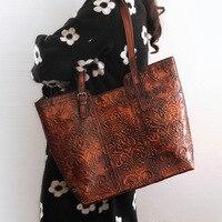 2016 Vintage Handbag Handmade Panelled Women Genuine Leather Casual Totes Cross Body Cowhide Shoulder Totes Bag