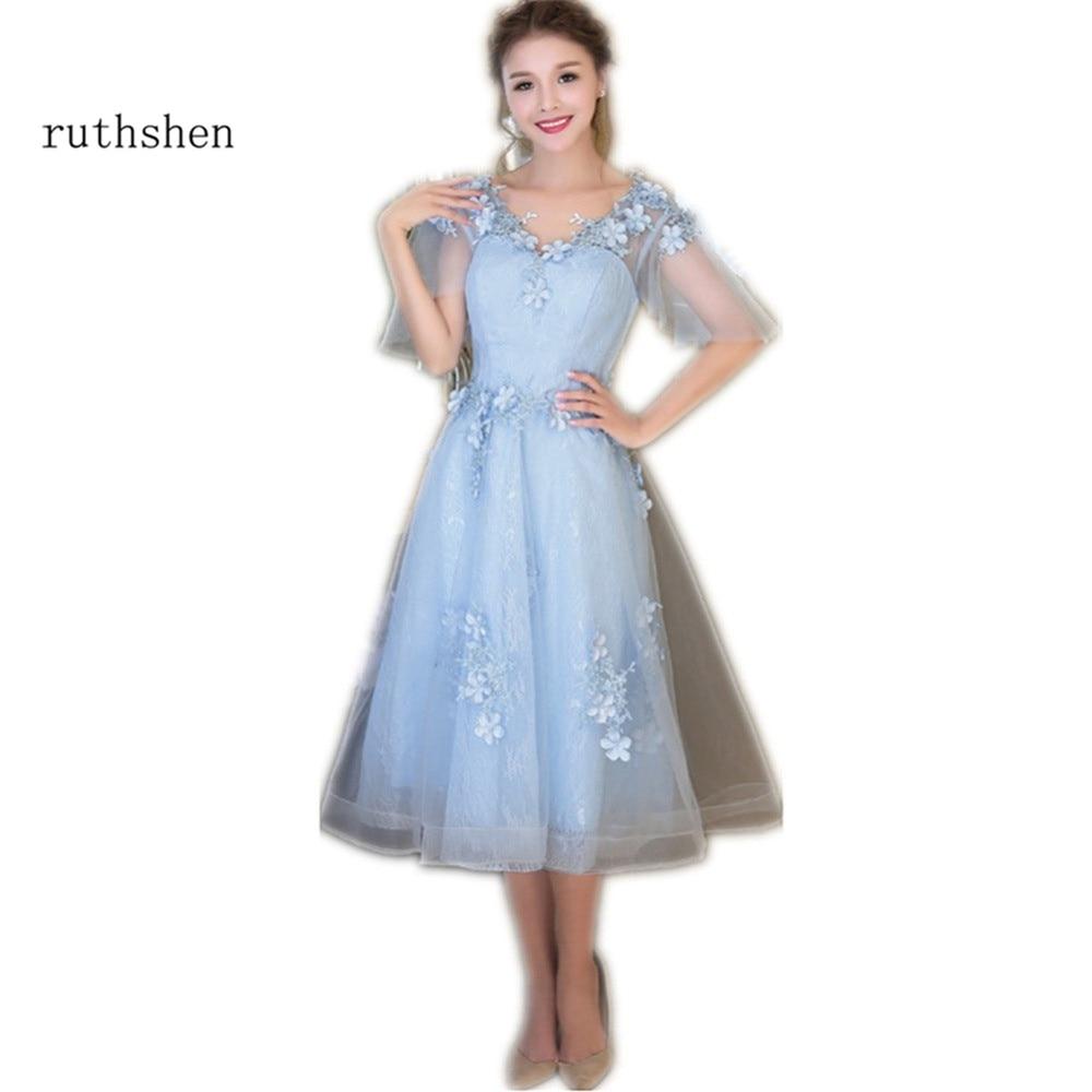 Ruthshen Light Pink Blue Red Cheap Prom Dresses 2018 Stock Tea