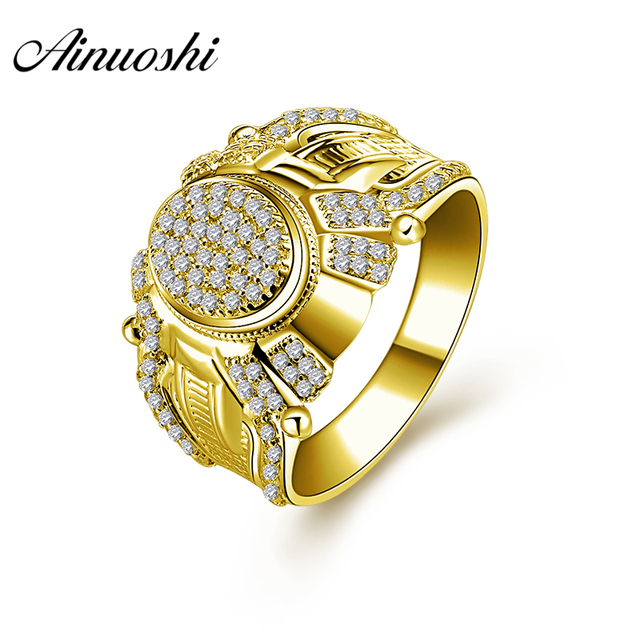 Ainuoshi 10k Solid Yellow Gold Wedding Band Vintage Design Cluster