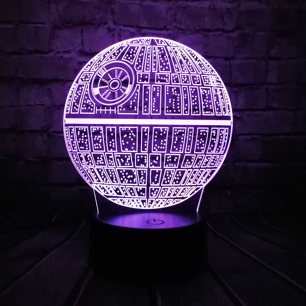 Hot Sale Movie Star Wars 3D USB LED Lamp Astro Cartoon Death Star Colorful Ball Bulb Atmosphere lava Night Lights lighting Gifts
