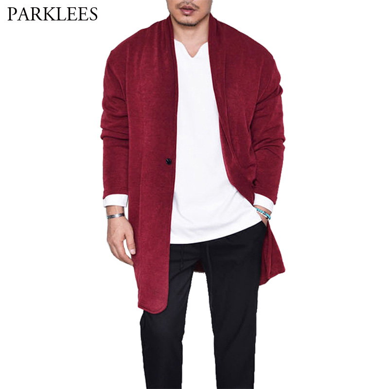 Extra Long Mens Sweater Cardigan Solid Color Male Cardigans 2018 Brand 1 Button Long Sleeve Knitting Sweaters Mens Casual Jacket