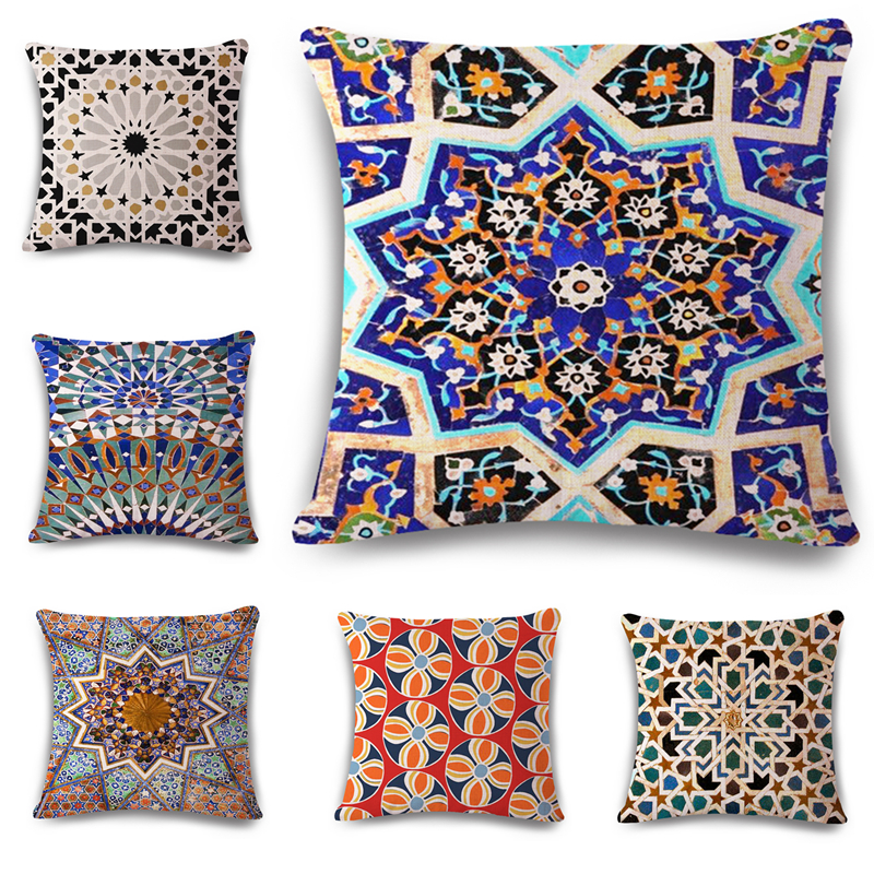 Geometric Ethnic Cushion Home Decorative Cotton Linen Cushion Bed Car Throw Pillows Decorative Cojines no filling