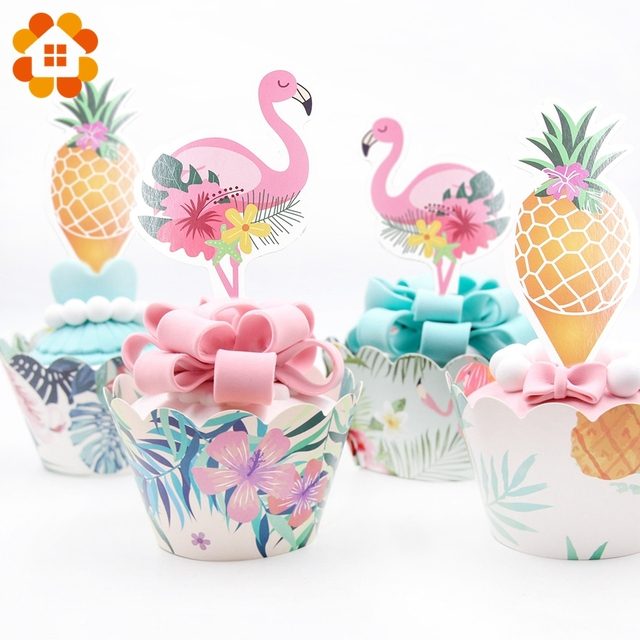 24pcs Lot Flamingo DIY Party Cake Topper Wedding Happy Birthday Decorations Adult Kids Two Sided