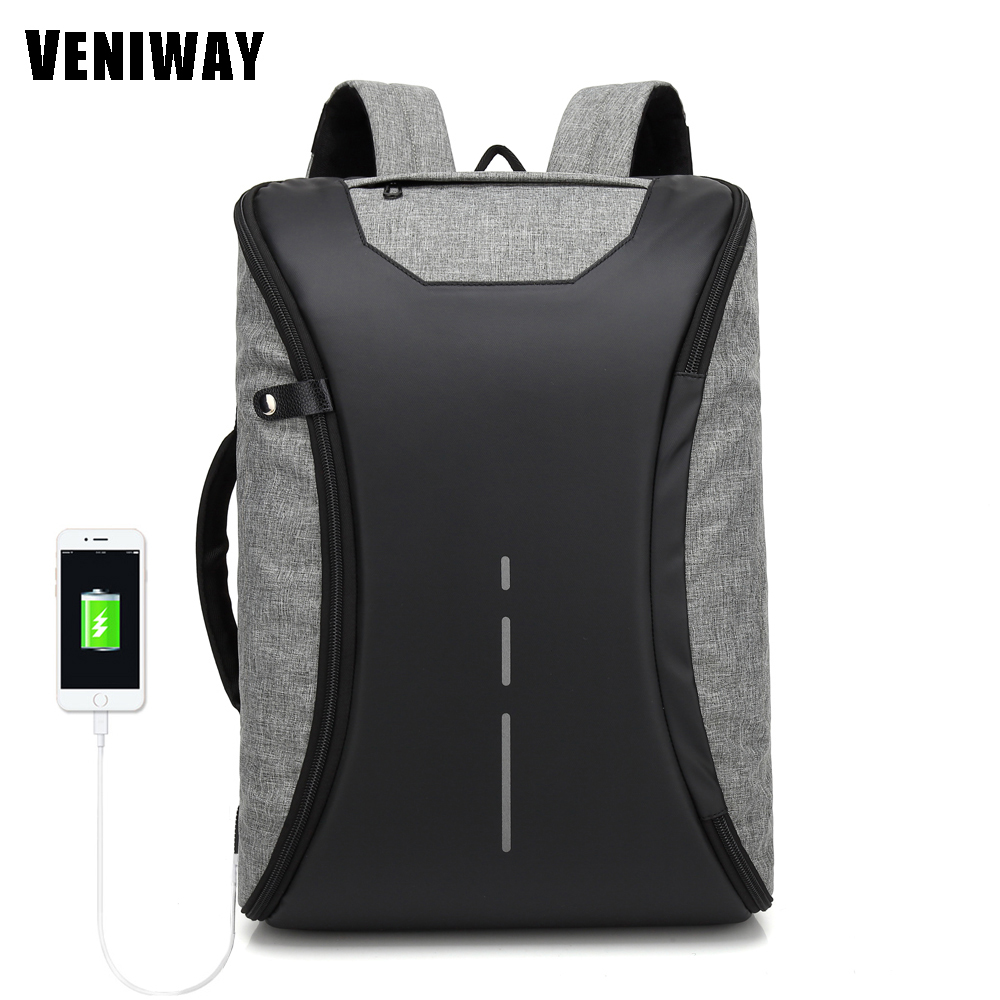 VENIWAY Multifunction USB Charge 15 inch Waterproof Laptop Backpacks Male Mochila For XD City Antitheif Travel Design Backpack veniway xd anti theft backpack women men backpacks usb charge laptop design male travel backpack for girls school bag boys