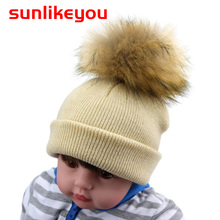 Sunlikeyou Unisex Newborn Baby Boy Girl Kids Caps Toddler Faux Racoon Fur Hairball Beanie Warm Pompom Knitted Hat