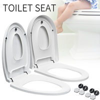 1Pcs U Type V Type Replacement Universal Toilet Seat Lid Cover Set White Thicken 2Types Antibacterial Square Round Bathroom