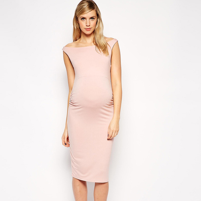 Lovely Pink Elastic Pregnancy Clothes Elegant Maternity Dresses ...