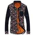 warm thick men floral print shirts M-5XL kroean turn down collar slim stylish mens dress shirts Camisa Masculina