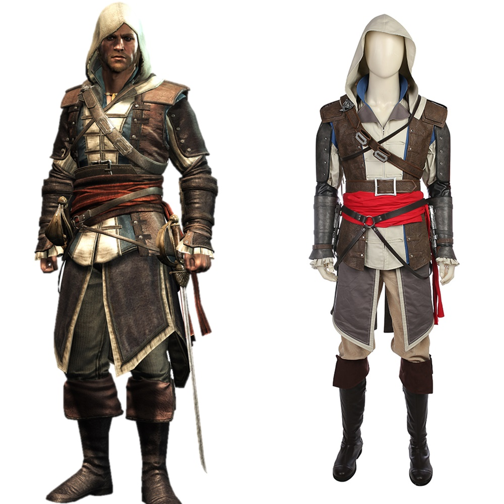 AC IV Black Flag Edward Kenway Cosplay Costume Halloween Outfit