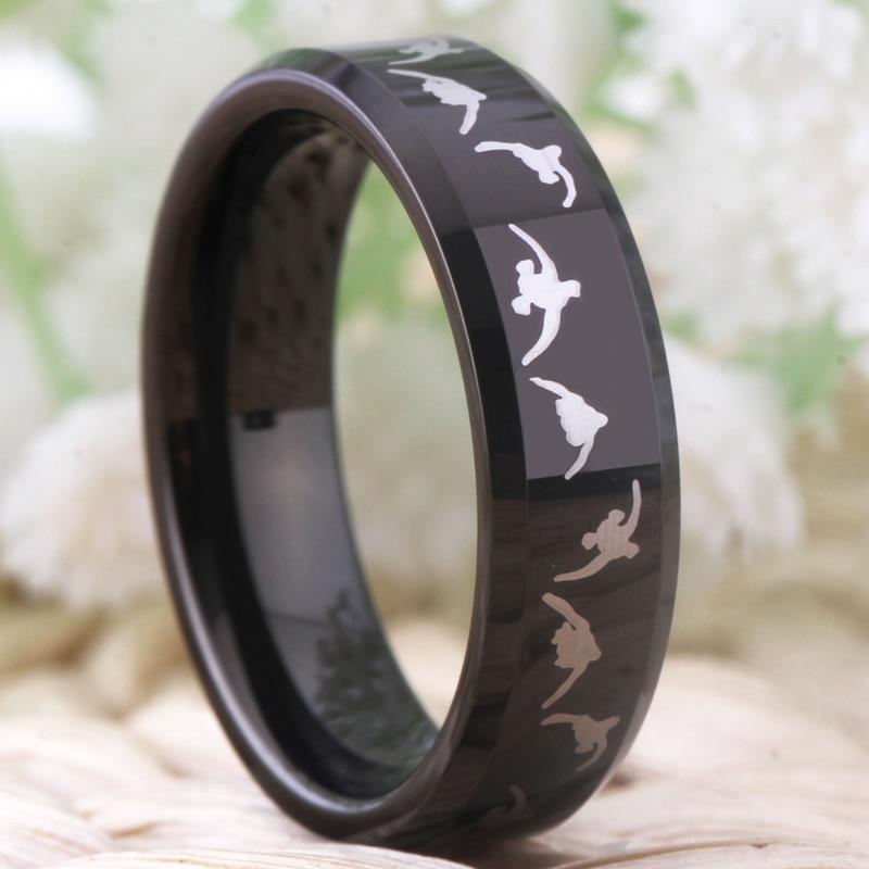 Моден волфрамов сватбен пръстен за - Модни бижута - Снимка 6