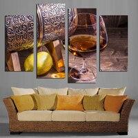 4 Painéis Da Arte Da Lona Imagem Copo de Vinho de Fruta Limão Para cozinha Sala de estar Decoração Da Parede Cópias Da Lona Pinturas de Parede Não quadro